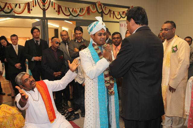 Ceremony begins with Groom