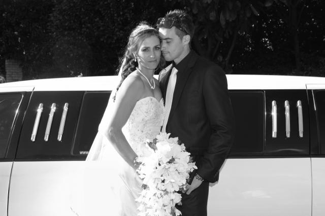Bride and Groom at Limousine