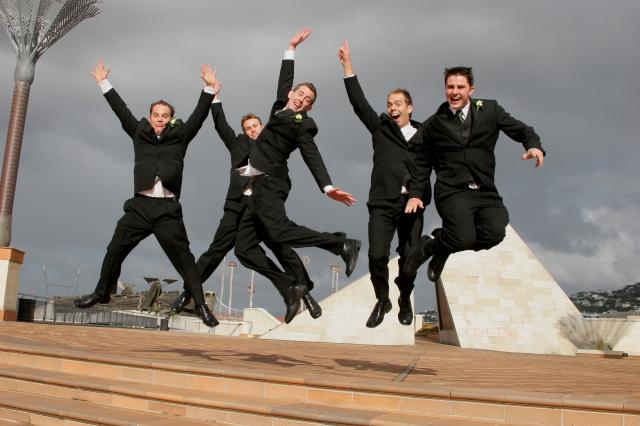 Groom and Groomsmen, Civic Square, Wellington